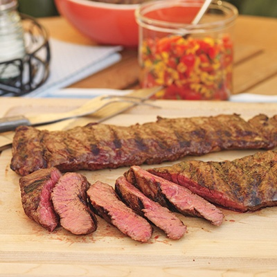 Grilled Skirt Steak with Corn Salsa and Black Beans | Recipe