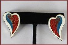 Vintage Laurel Burch Pierced Earrings Dove Heart