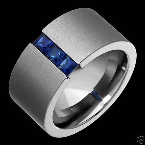Tension Set Titanium Rings Blue Sapphire Wedding Bands