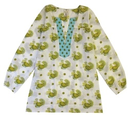 top antique white peacock, simple Boho clothes for women and children