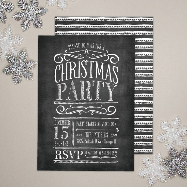 chalkboard christmas party invitation chalkboard invite inspiration