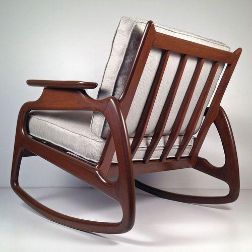 vintage mid century danish modern rocking chair pearsall rocker loun