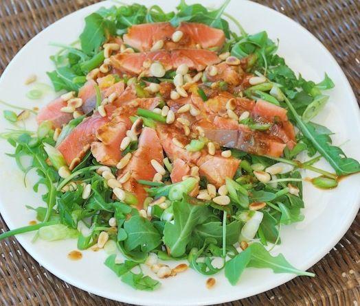 laurence salmon -Seared Salmon Salad w/ Orange, Teriyaki & Ginger