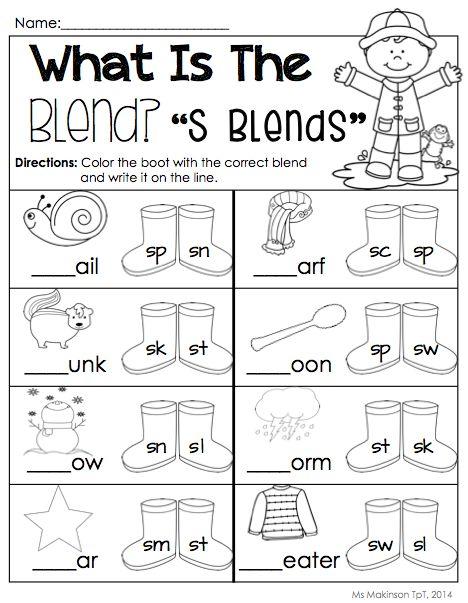 ... Packet - Kindergarten Literacy and Math. S Blends! [Ms. Makinson
