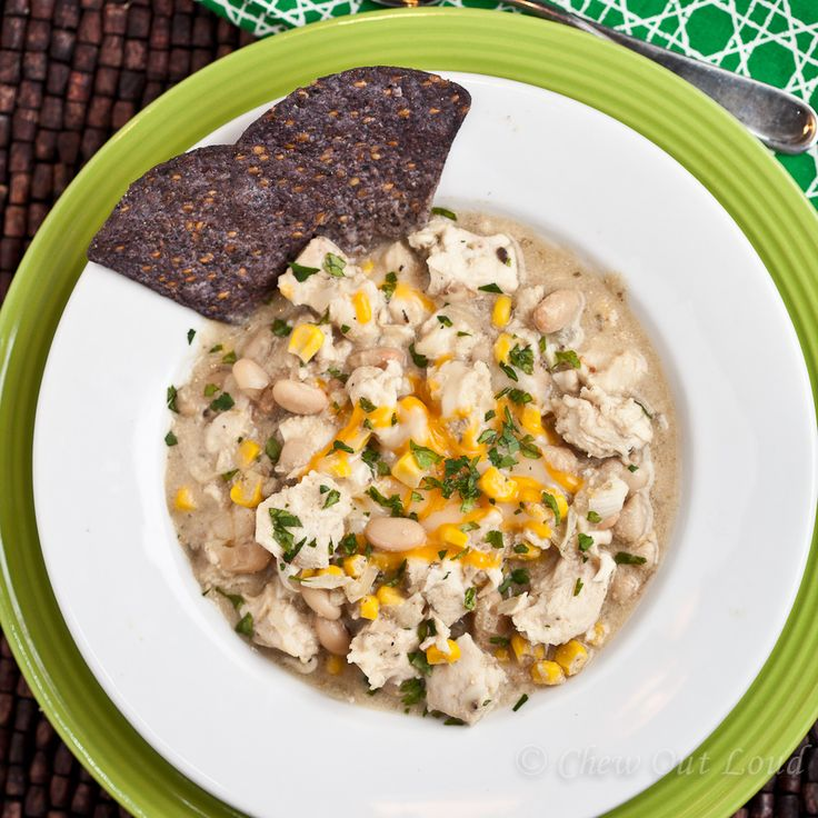 White Chicken Chili. Tender chicken, white beans, and sweet corn in a ...