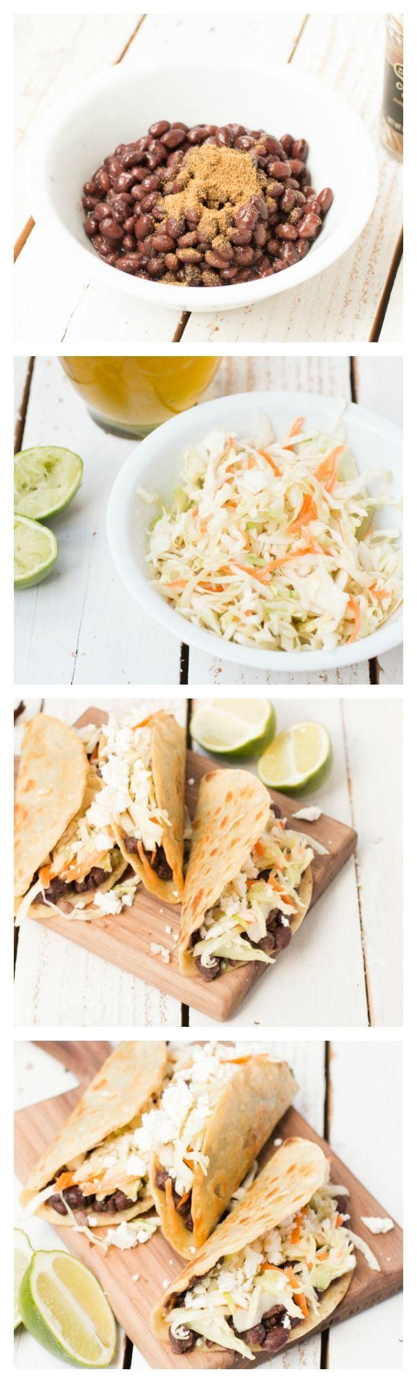 Crisp Black Bean Vegetarian Tacos. Seriously our favorite #vegetarian ...