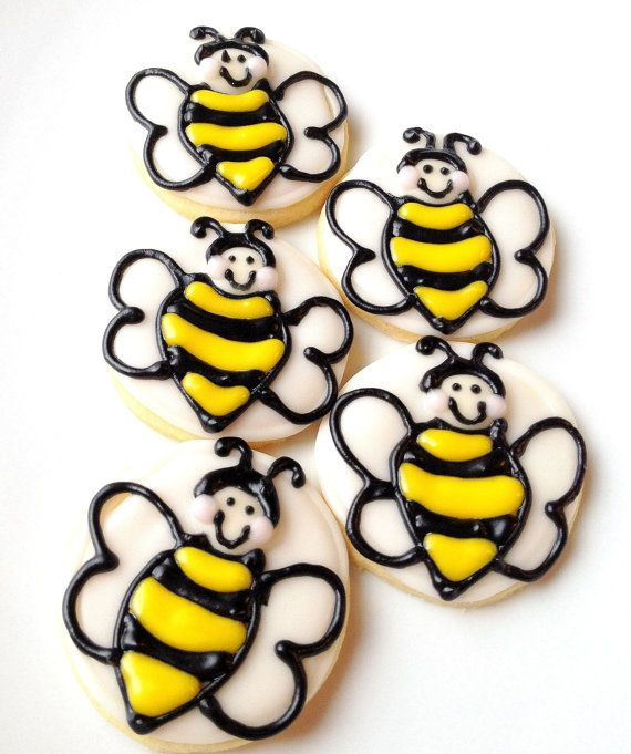 Bumble Bee Cookies Decorated Iced Sugar Cookies Mini Yellow