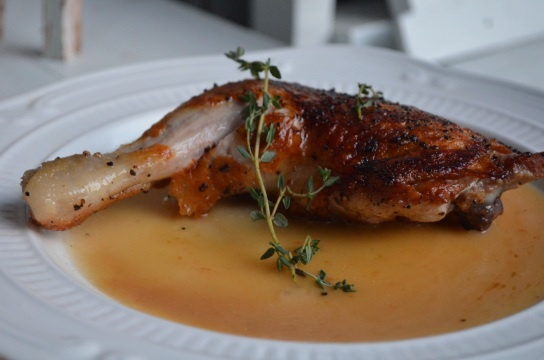 Roasted Chicken Leg Quarters with Brandy Butter Sauce