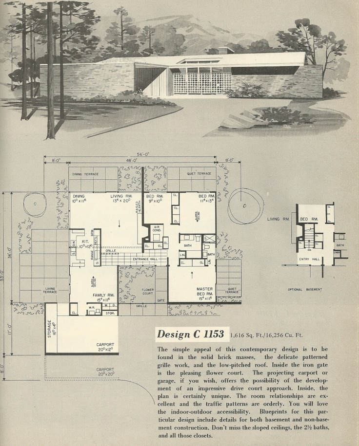 vintage house plans 1960s house plans mcm pinterest