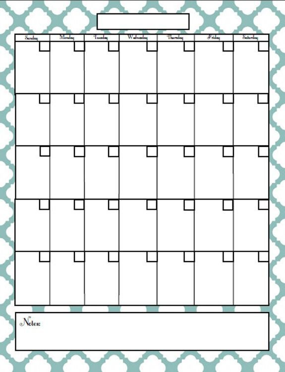 Free Fill In Blank Calendar Printables | Search Results | Calendar ...