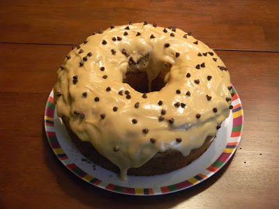 Chocolate Chip Peanut Butter Pound Cake with a Peanut Butter Glaze
