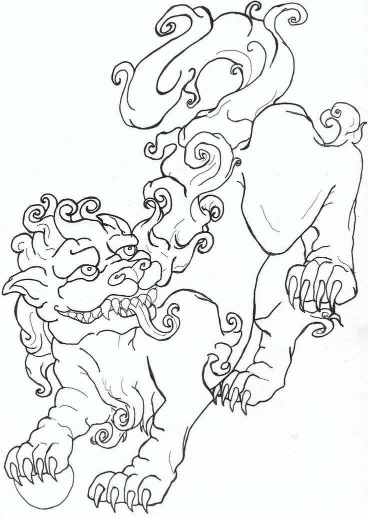 Chinese lion drawing