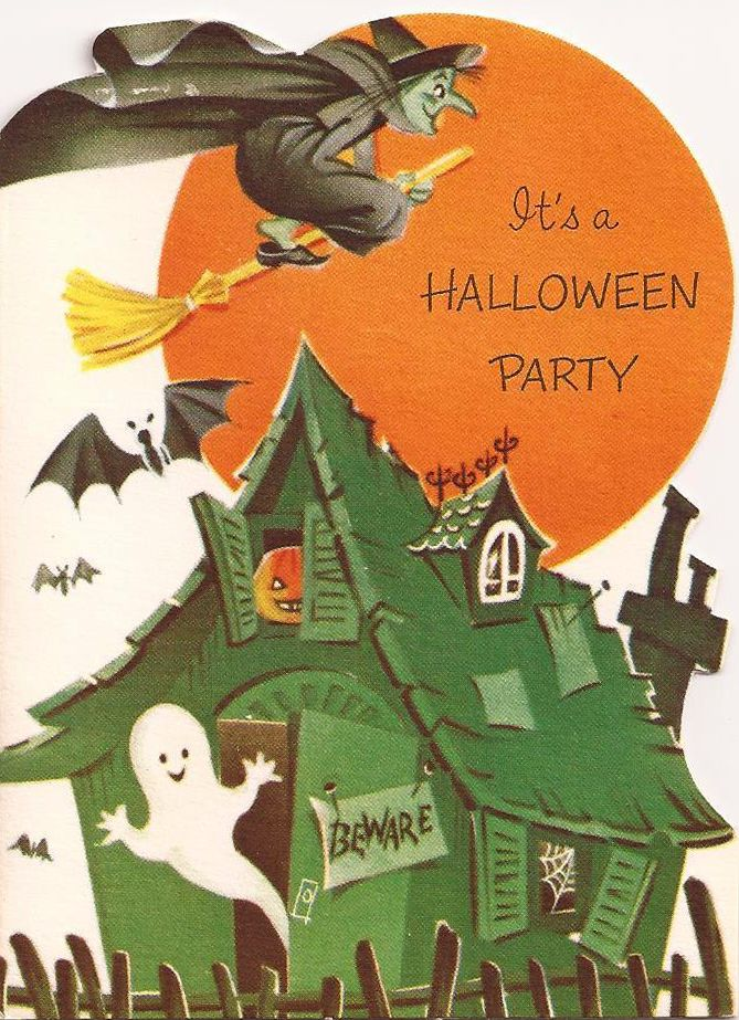 Vintage halloween invitation halloween inspiration for Vintage halloween party invitations