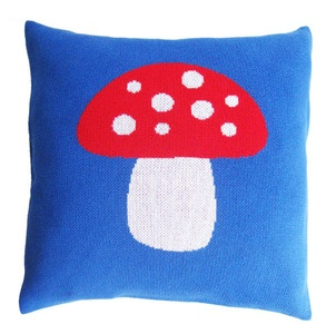 Knitted Mushroom pillow case in blue