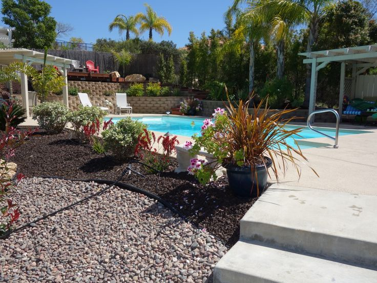 Landscaping by pool my home decor and landscaping for Pool area decor