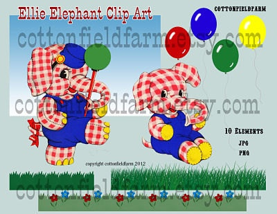 Retro Elephant Ellie Elephant Clip Art C333 by Cottonfieldfarm,