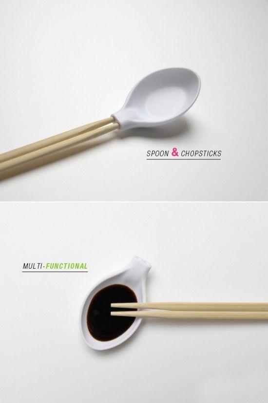 such a clever design! spoon + chopstick.