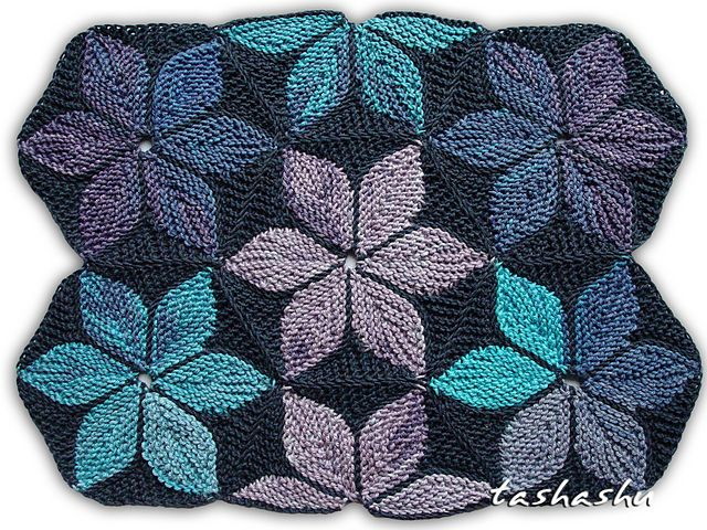 Hexagon Kaleidoscope patchwork knitting pattern by Svetlana Gordon