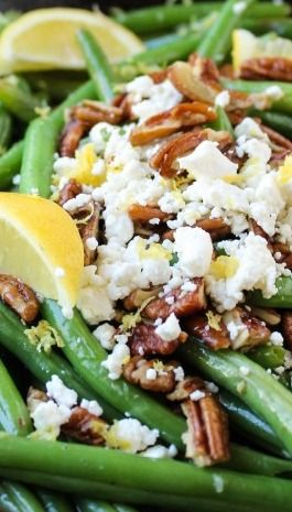 Lemon Green Beans with Feta and Fried Pecans | Recipe