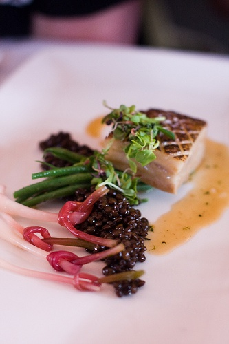 ... Braised Pork Belly, Green Beans, Beluga Lentils, Ramps with Duck Jus