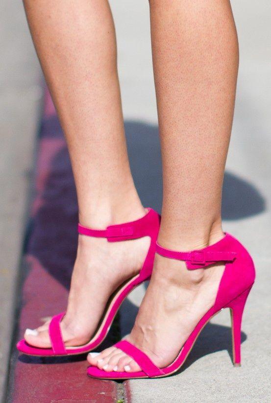 fuschia pink high heels shoes