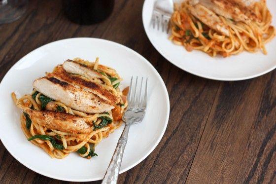Sun-Dried Tomato Pesto Pasta with Spinach & Blackened Chicken # ...