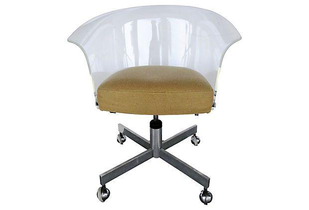 Lucite Swivel Desk Chair