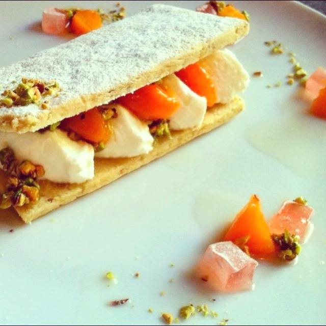 Walnut Shortbread with Cardamom poached Apricots & Total Greek Yoghurt ...