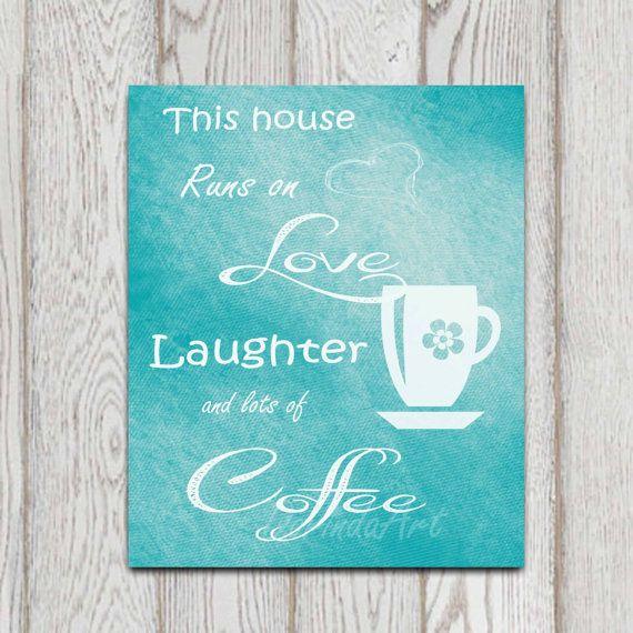 Coffee printable turquoise teal kitchen decor coffee cup for Teal kitchen decor