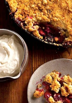 and pistachio almond crumble sour cherry pie with almond crumble ...