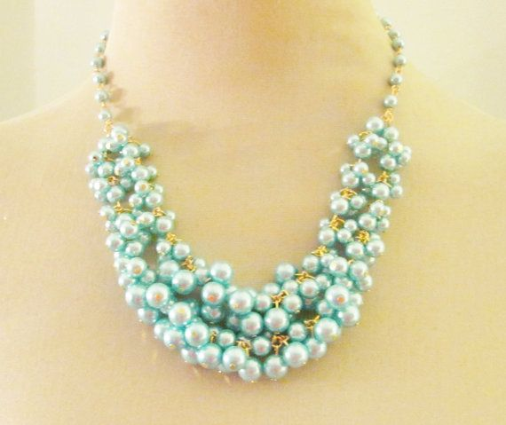 Aqua Blue Glass Pearl Cluster Statement by silverliningdecor, $76.00