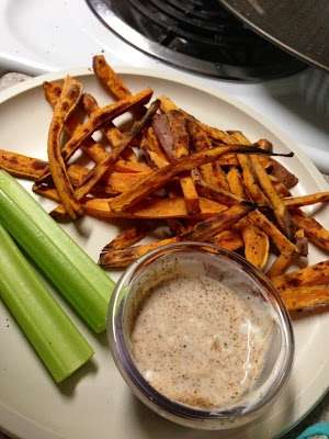 ... !: Baked parmesan sweet potato fries & chipotle ranch yogurt dip
