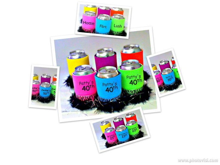Fun Koozies for the Girls at the 40th Birthday Party.