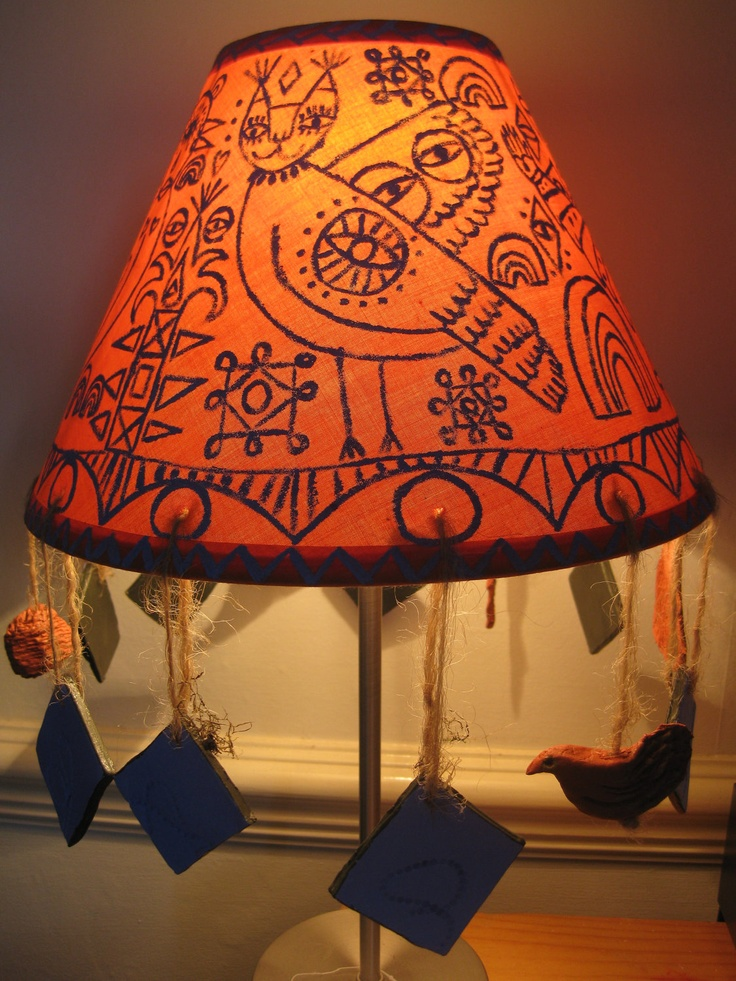 hand painted illustrated lamp shade chalk paint furniture pintere. Black Bedroom Furniture Sets. Home Design Ideas