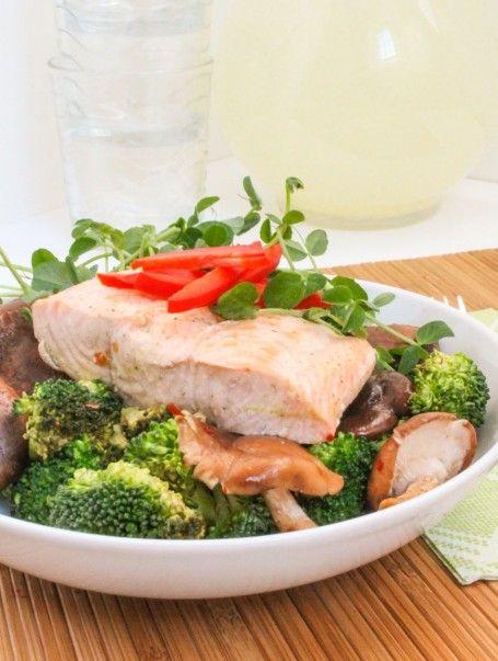 Shiitake Mushroom and Broccoli Stir Fry with Ginger Poached Salmon ...