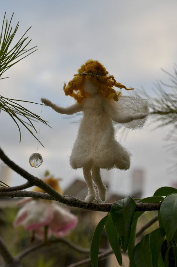 Needle felted Waldorf Little White Angel Ornament-Christmas tree