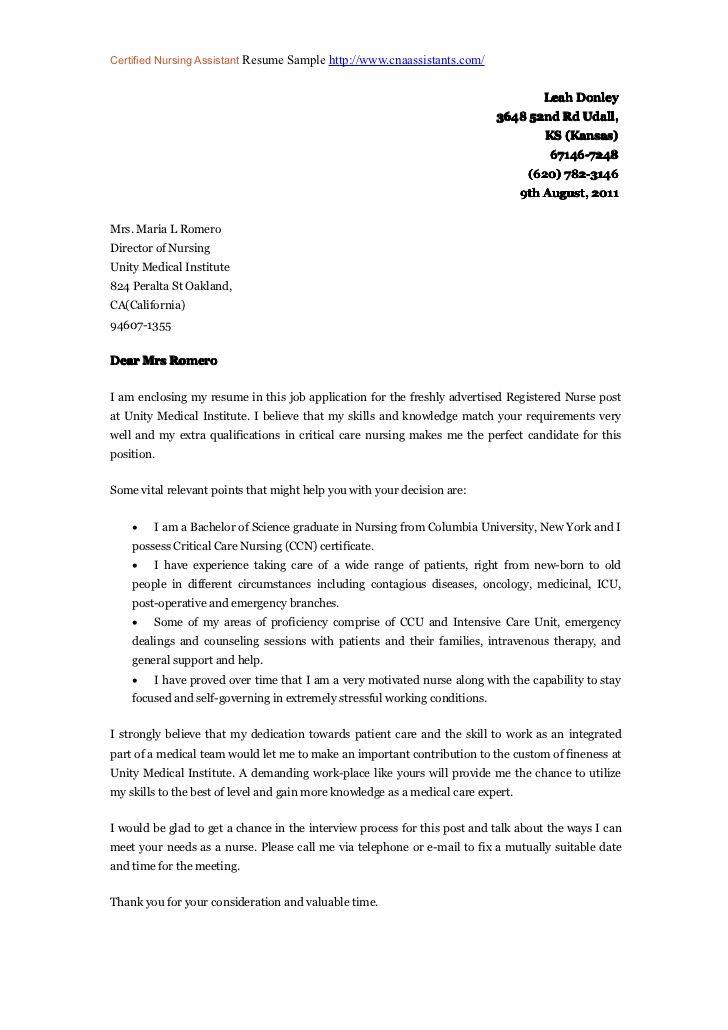 job application letter nursing