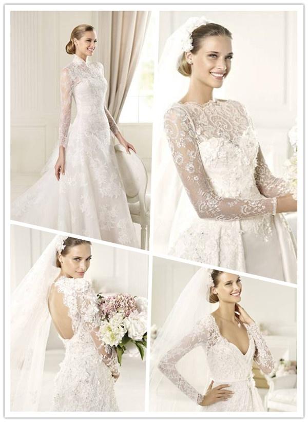 tendance 2013 de robe de mariée longue manche dentelle