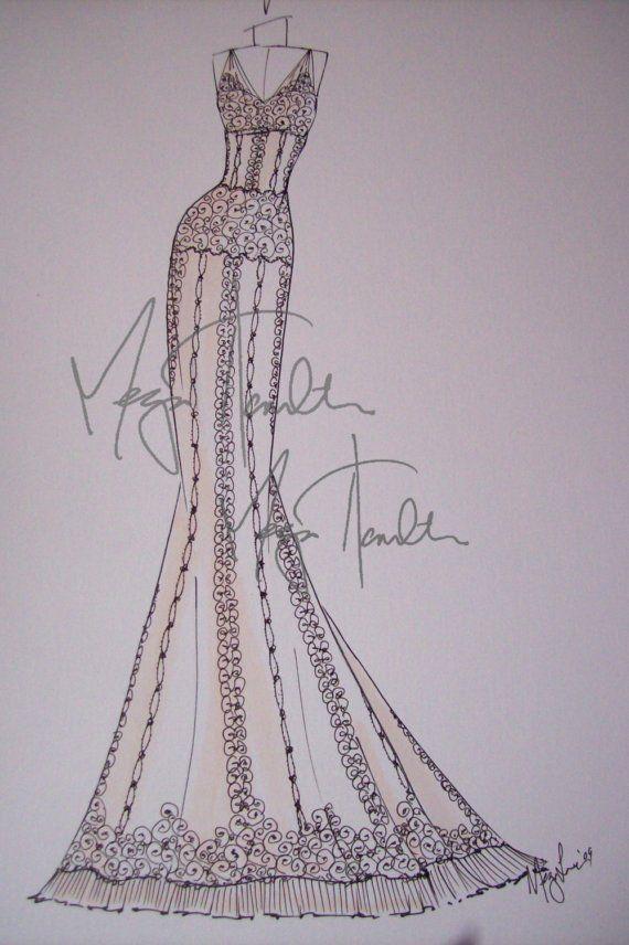 ok i want this a custom wedding dress sketch yes please