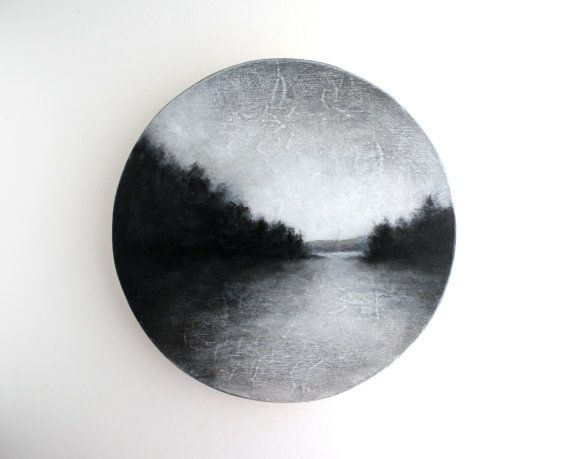 Black and White Landscape Oil Painting by TreeHollowDesigns, $85.00