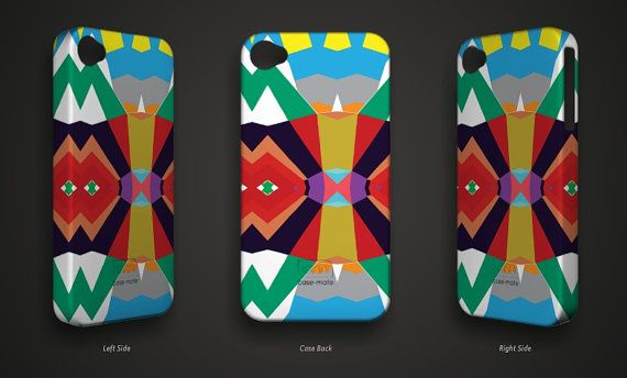 Geometric Blue Yellow Red Gray iPhone 4 Case