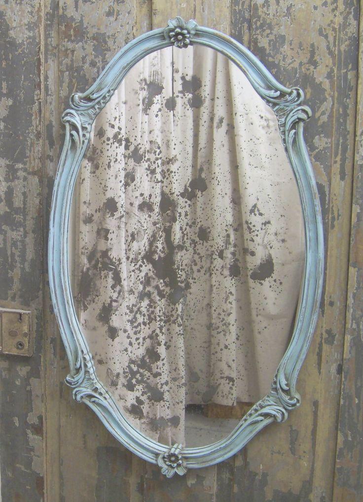 Shabby aqua scalloped oval french bistro mirror chic mr908 for Antique mirror