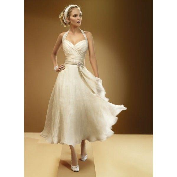 2013 Sexy Halter Tea Length Beach Wedding Dress Prom