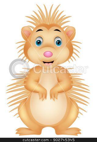 Cute porcupine cartoon stock vector clipart, Vector illustration of ...