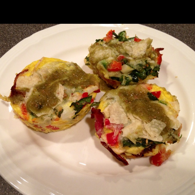 migas - used the breakfast in a muffin tin idea. Scrambled the eggs ...