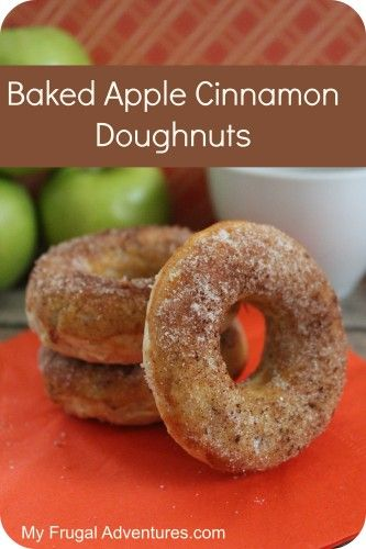 Baked Apple Cinnamon Doughnut Recipe. So perfect for fall!