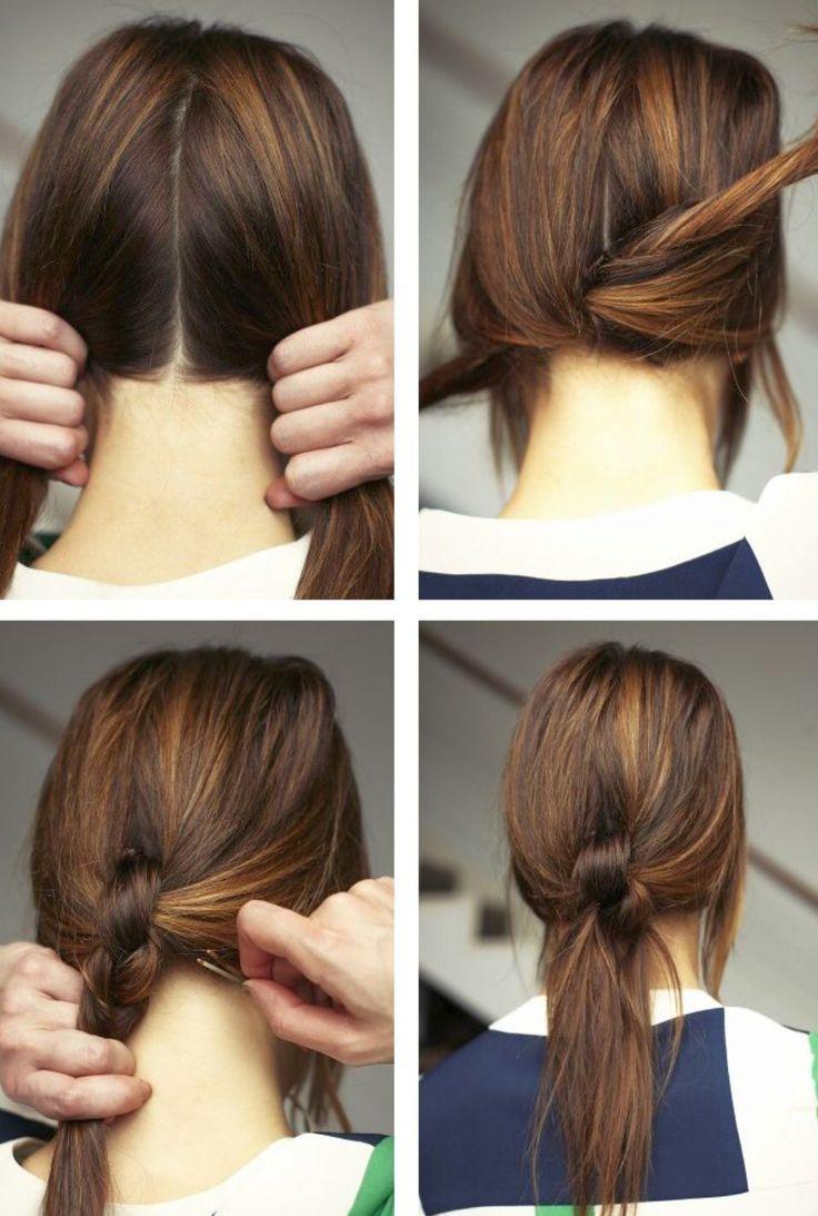 Как сделать прическу из узлов на волосах с помощью невидимки 94