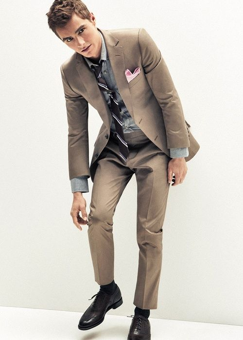 Z Zenga $1,295 brown mens suit. As seen in GQ, worn by Dave Franco
