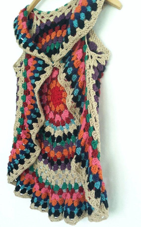 Free Crochet Pattern For Mandala Vest : Womens crochet mandala vest