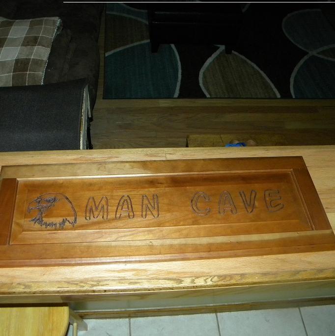Man Cave Door Signs : Man cave sign cut into a cabinet door doors